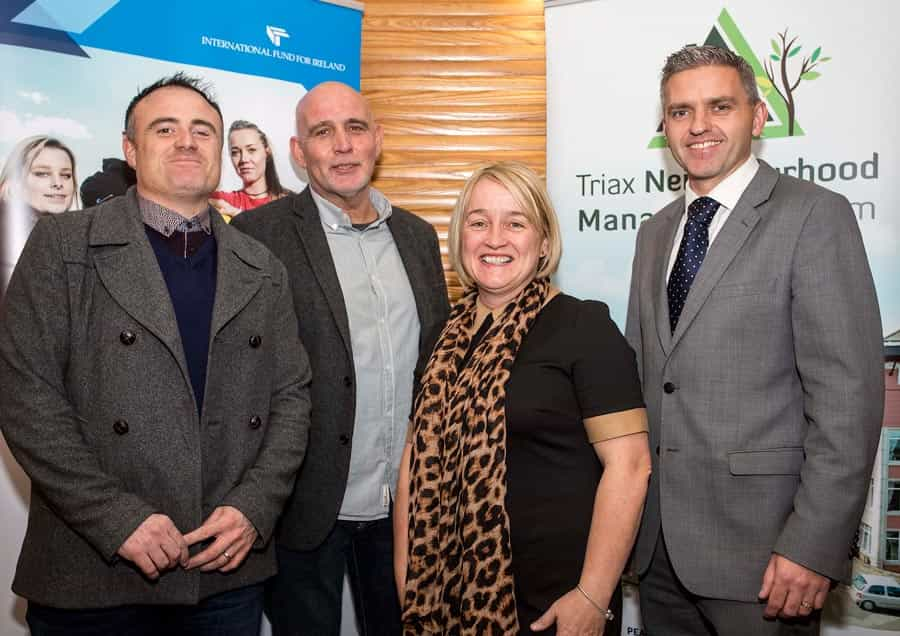 Johnny Byrne from Ulster University with Rab McCallum from TASCIT project alongside Donna McCloskey from Bogside Brandywell Initiative and Dr Adrian Johnston Chairman of the Fund.
