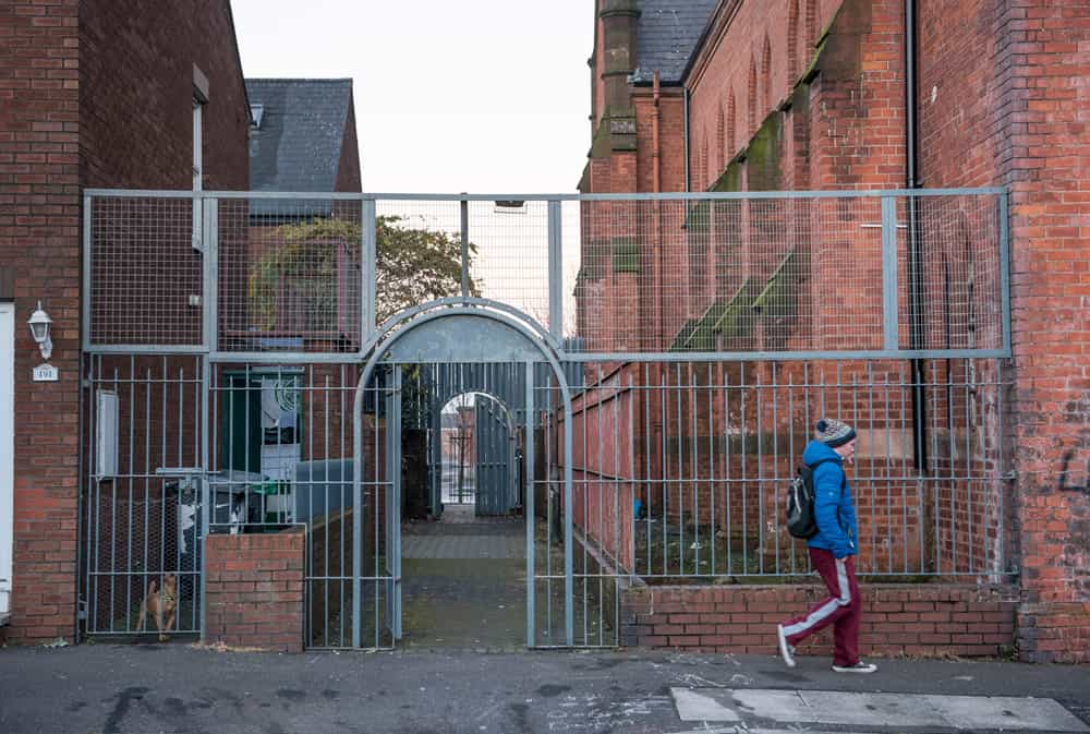 An interface gate separates two streets in North Belfast.