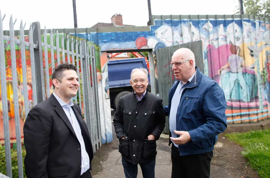 Joel Braunold from ALLMEP gets a walking tour with Greater Whitewell Community Surgery team on a recent visit to Northern Ireland.