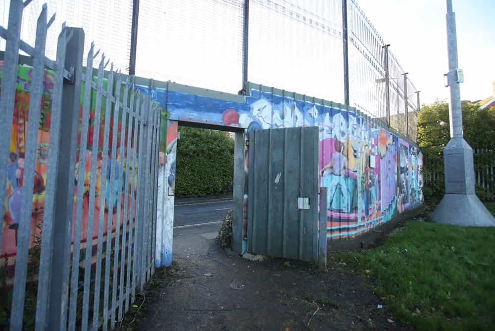 The pedestrian gate that residents can use daily to access Navarra place and Serpentine Road in North Belfast.