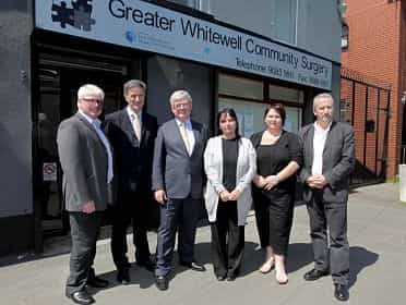 Tánaiste Eamon Gilmore TD on a visit to the Greater Whitwell Community Surgery on the Shore Road in North Belfast.