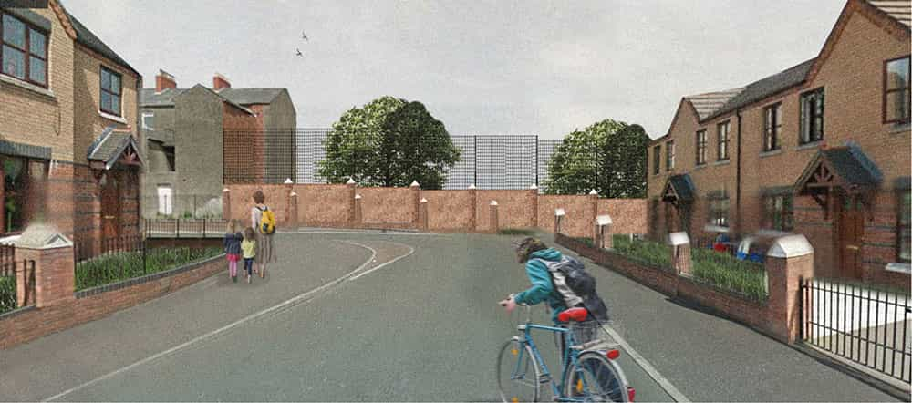 Proposed changes to transform the fence at Hillman Court Barrier, North Belfast.