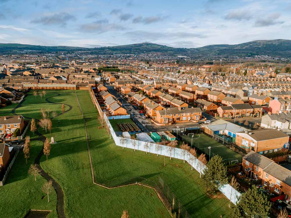 Drone images of Peace Walls that the Imagine Project is working with in North Belfast.